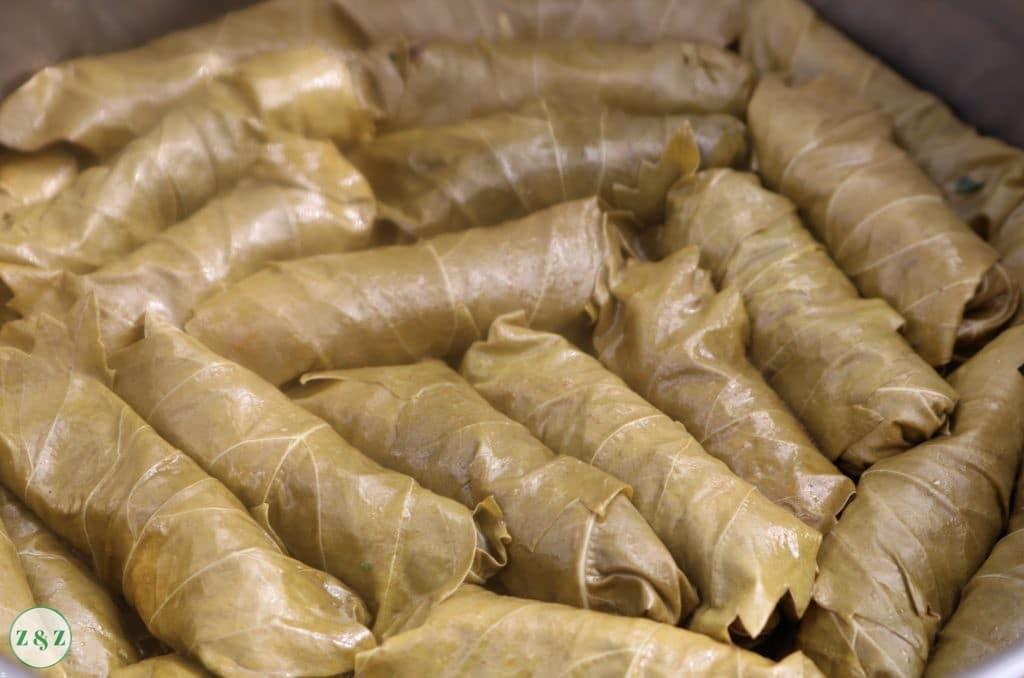 Lebanese Vegetarian Stuffed Grape Leaves Warak Enab