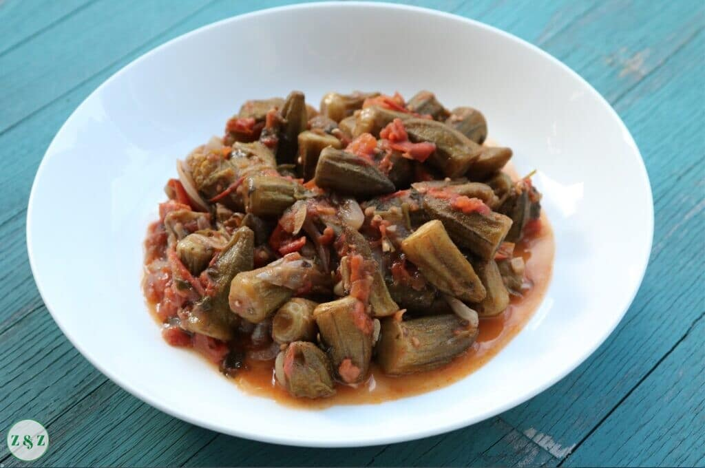 Okra In Tomato Sauce Vegan Lebanese Recipes By Zaatar And Zaytoun