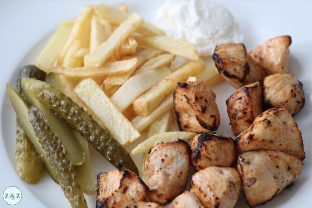 Chicken Shish tawouk with chips pickles and garlic sauce