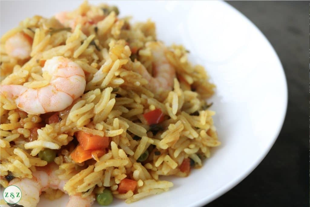 shrimp and vegetable rice