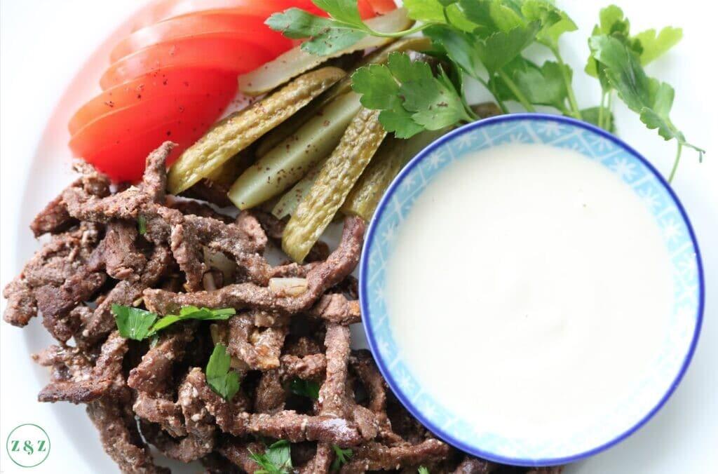 tahini with shawarma