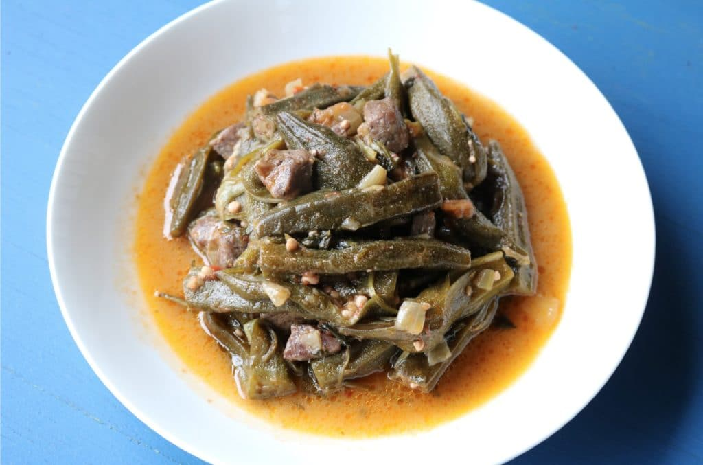 okra stew in tomato sauce with lamb