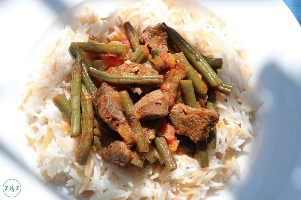 loubia bi lahme with rice