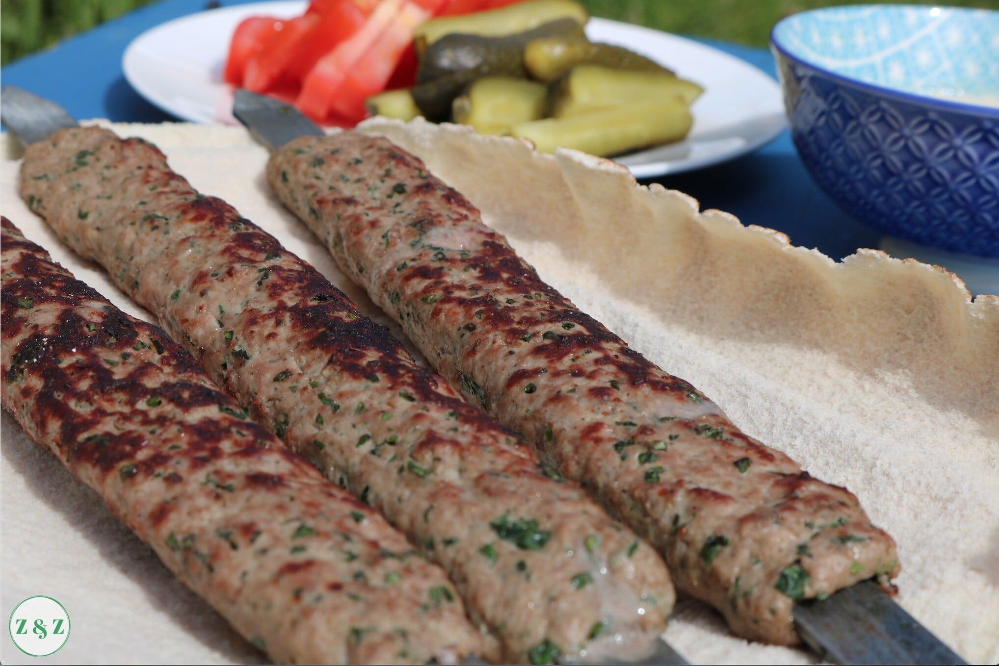 kebab with pickles